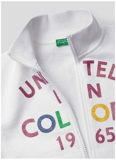 Benetton Benetton 322113J68C5933 Pamuklu Dik Yaka Uzun Kollu Fermuarlı Baskılı  Kadın Sweatshirt Beyaz